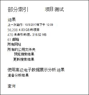 搜索统计显示的示例部分索引项
