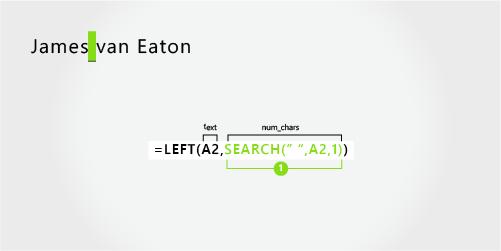 用于分隔名字以及由两个部分组成的姓氏的公式