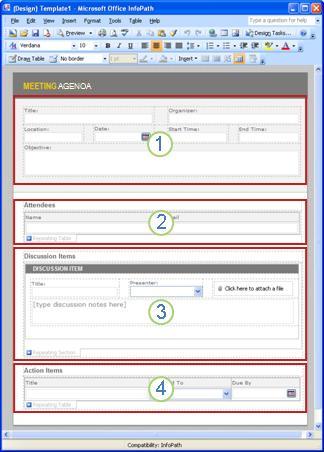 包含四个节的会议议程表单模板