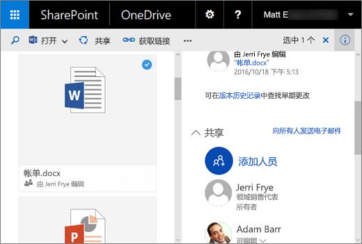 """一张屏幕截图,显示位于带功能包 1 的 SharePoint Server 2016 中的 OneDrive for Business 内的""""详细信息""""窗格"""