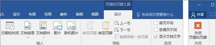"""显示""""页眉和页脚工具""""下的""""设计""""选项卡上可用的选项。"""