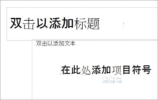 空标题框和空文本框以显示项目符号将在其中工作的图像。