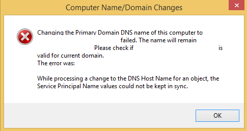 This is the screenshot of Computer Name/Domain Changes