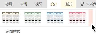 """选择 """"更多"""" 下拉箭头以打开完整的表格样式库。"""