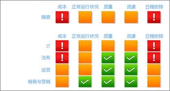 面向 IT 部门的项目指标(成本、运行状况、质量、资源和日程安排)