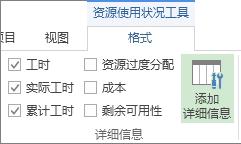 """""""资源使用状况工具格式""""选项卡,""""添加详细信息""""按钮"""