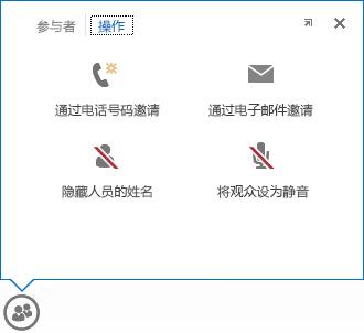 """在""""人员""""按钮上悬停时显示的菜单的屏幕截图,选中了""""操作""""选项卡"""