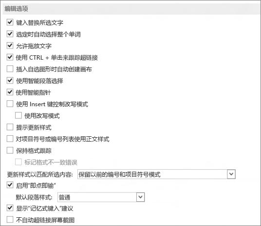 Word 2013 编辑选项