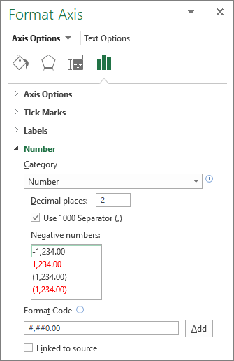 在坐标轴选项中的数字格式部分