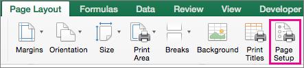 """在""""页面布局""""选项卡上,选择""""页面设置"""""""