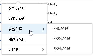 在 Office 365 中的文档库视图进行筛选