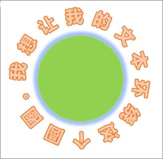 沿圆形形状环绕成圆形的文字