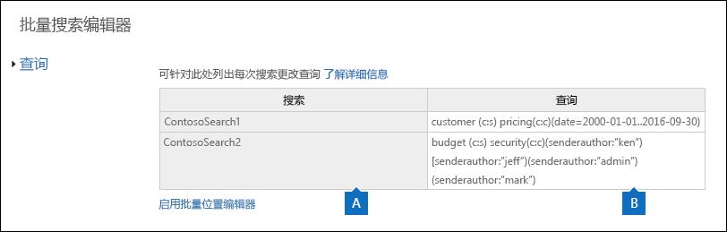 批量搜索编辑器页面显示所选的搜索的查询