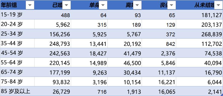示例数据和顶部的列标题: 年龄组、 已婚、 分隔、 离异、 Widowed,和从不已婚