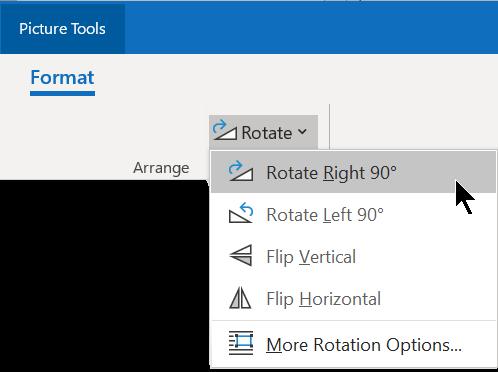 """""""旋转"""" 按钮位于功能区的 """"格式"""" 选项卡上的 """"排列"""" 组中。"""