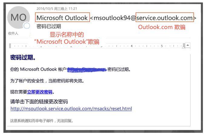 模拟 service.outlook.com 网络仿冒邮件