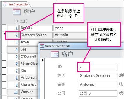 单击多项目窗体上的 ID 以打开单项目窗体。