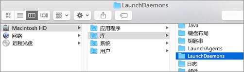 """通过浏览找到""""库""""文件夹,然后找到""""LaunchDaemons""""文件夹"""