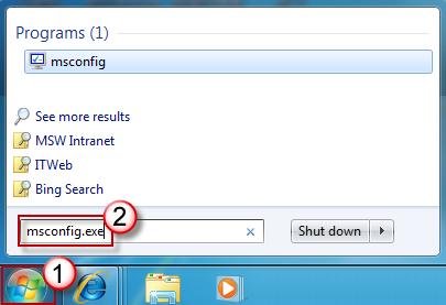 """""""开始搜索""""框 - msconfig.exe"""