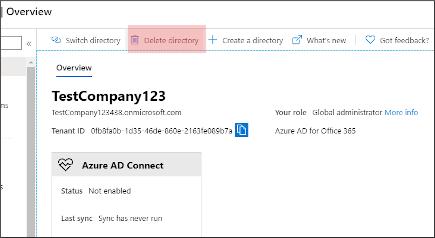 在 Azure 中删除目录