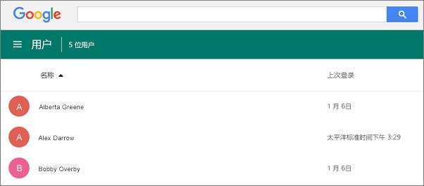 Google 管理中心中的用户列表。