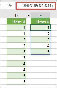 UNIQUE 函数示例:=UNIQUE(D2:D11)