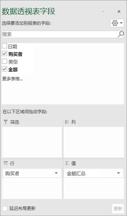 显示字段部分和区域部分的字段列表
