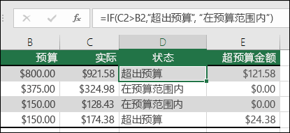 "单元格 D2 中的公式是 =IF(C2>B2,""Over Budget"",""Within Budget"")"