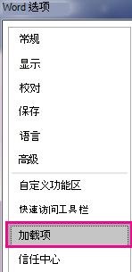 在选项菜单中,选择加载项。