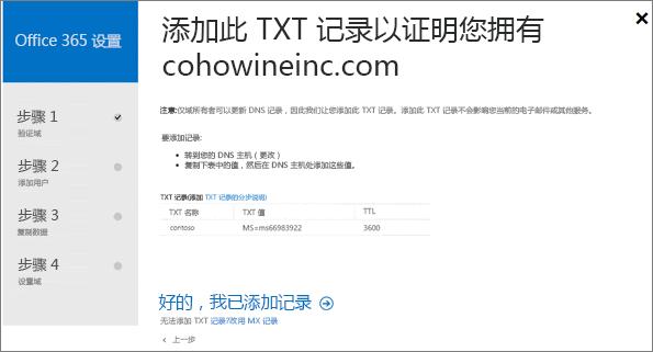 添加 TXT 记录以验证你是否拥有该域