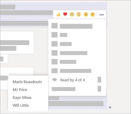 """在聊天消息中,选择""""更多选项"""" > """"Teams 中已读用户""""。"""