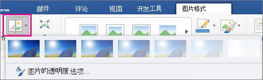 在图片格式选项卡上已突出显示透明度。