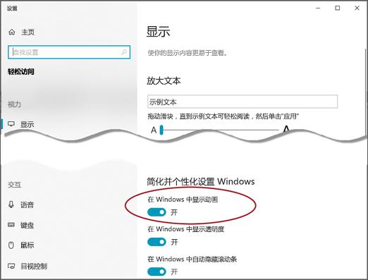 """突出显示 """"在 Windows 中显示动画"""" 选项的 """"轻松使用显示"""" 菜单。"""
