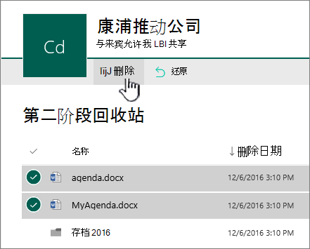 SharePoint Online 第二个级别回收站与突出显示删除按钮