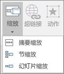 """显示转到""""插入"""">""""缩放""""时可选的各种""""缩放""""类型:摘要缩放定位、幻灯片缩放定位和节缩放定位。"""