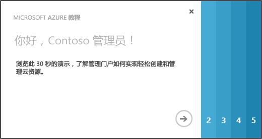 Azure 教程欢迎页的屏幕截图,该教程将花费 30 秒钟时间,展示如何使用管理门户创建和管理云资源。