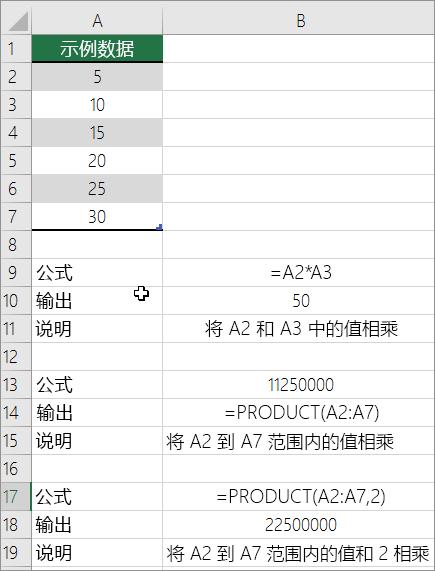 使用 PRODUCT 函数将数字相乘