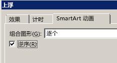 """显示""""颠倒顺序""""复选框的部分 """"SmartArt 动画""""选项卡"""