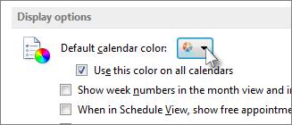 """在""""显示选项""""下,选择所需的默认颜色"""