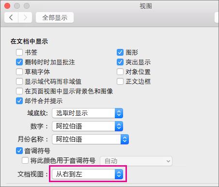 """""""视图""""对话框中的文档视图选项"""