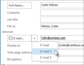 为联系人添加额外的电子邮件地址