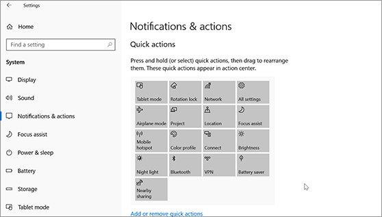 Dragging quick actions to arrange them