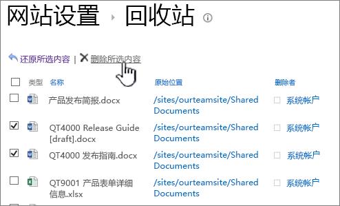 SharePoint 2013 第二个级别的回收站中删除按钮