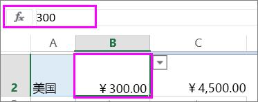 数字值在函数栏中的视图