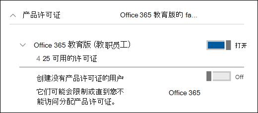 在 Office 365,显示展开产品许可证部分中添加用户的屏幕截图。