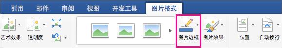 """""""图片格式""""选项卡,突出显示""""图片边框""""选项。"""