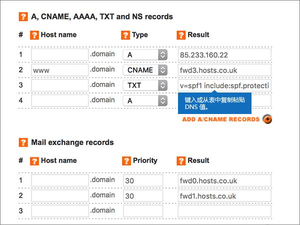 在添加/修改 DNS 区域页面上输入值