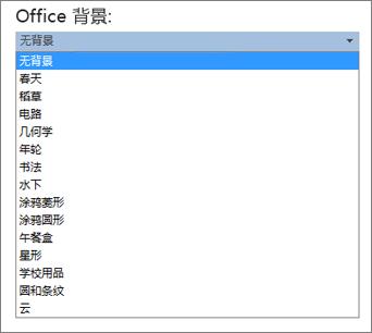 Office 2013 程序中的 Office 背景列表