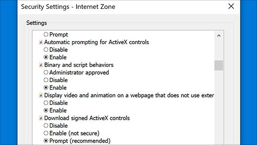 Security settings: ActiveX controls in Internet Explorer
