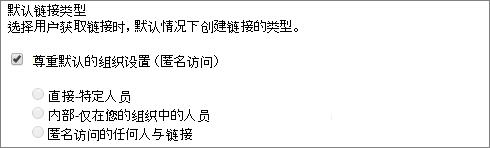 为网站集的默认链接类型设置的屏幕截图